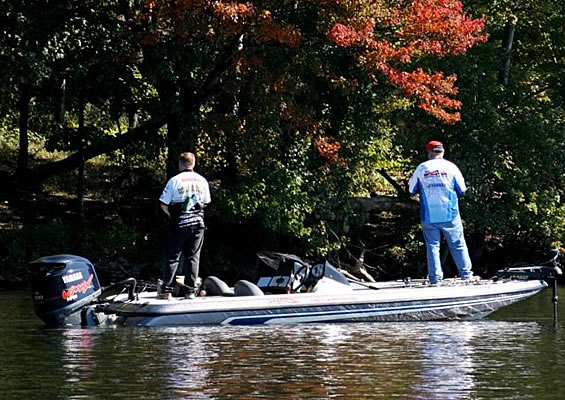 Anglers Bass Fishing in the Fall